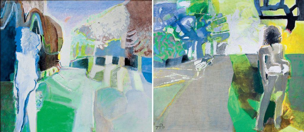 Teresa Pągowska, Wiosna, tempera, akryl, płótno, 140 x 160 cm oraz Lato, tempera, akryl, płótno, 140 x 160 cm